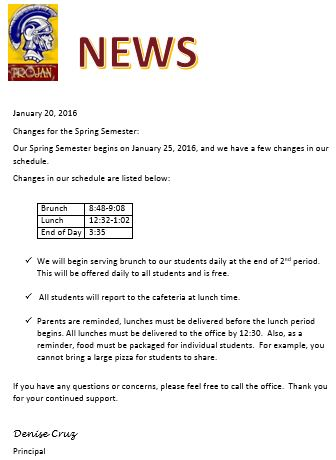 Charlotte ISD - Notice of High School Spring Semester Changes